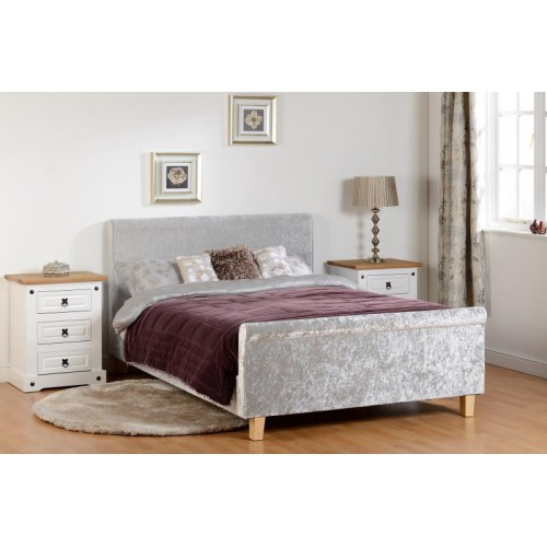 shelby 4ft 6 double sleigh bed high foot end in grey crushed velvet